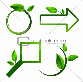 Different signs with green leaves