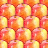 Seamless pattern of fresh red-yellow apples