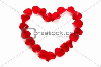 Beautiful heart of red rose petals