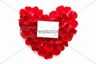 Beautiful heart of red rose petals with blank paper