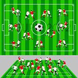 Football Field with Ball and Players