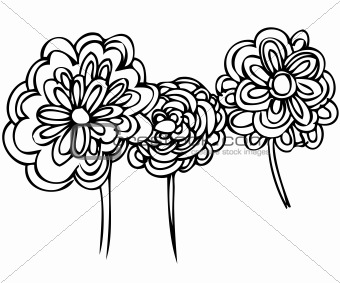 a sketch of plants is three abstract flowering flowers