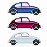Vector Mesh realistic multicolored Old cars on white. EPS10 opacity