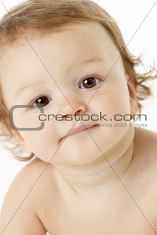 Close Up Studio Portrait Of Baby Boy