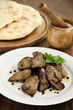 Chicken liver with garlic sauce