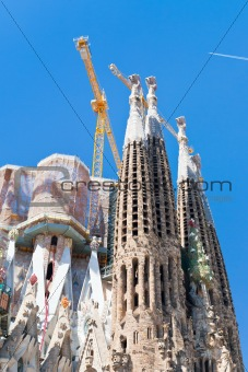 towers of Sagrada Familia basilica in Barcelona