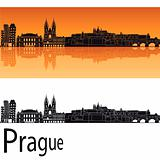 Prague skyline in orange background