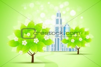 Green Trees and City