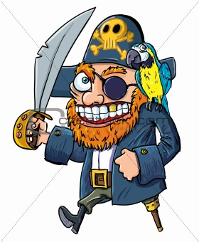 Cartoon pirate with a cutlass and parrot