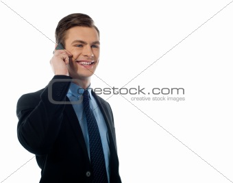 Adult handsome executive communicating on mobile