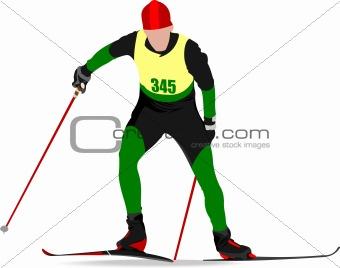 Ski runner colored silhouettes. Vector illustration