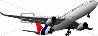 Passenger  Airplane on the air. Vector illustration