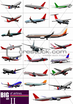 Big set of  Airliners. Vector illustration