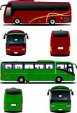 Two city buses. Tourist coach. Vector illustration for designers