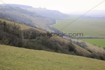 foggy dunstable downs buckinghamshire countryside