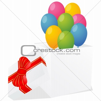 white gift box with red and gold ribbon bow and balloons