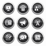 black communication buttons