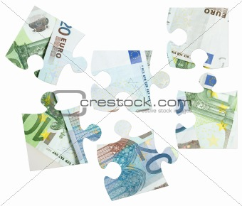pieces of Euro banknotes puzzle