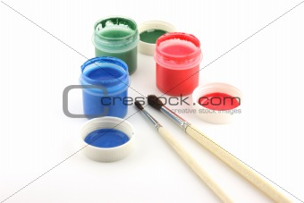 Water-color and paintbrushes