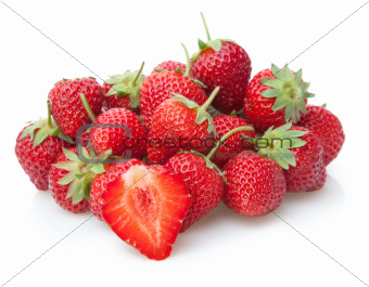 Fresh strawberry isolated on white.