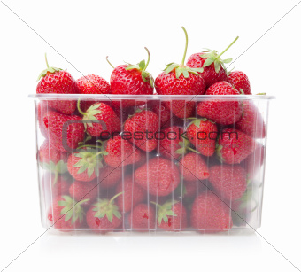 Fresh strawberries in plastic box on white.