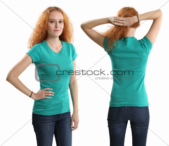 Pretty female wearing blank green shirt