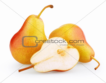 Red-yellow pear fruit with half