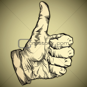 Thumb up like hand symbol. Vector icon.