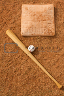 Baseball & Bat near Base