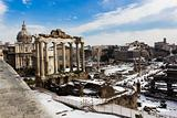 The Temple of Saturn and the other monuments of the Roman Forum.