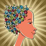 Girl with color curls hair, vector cartoon.