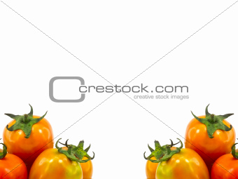 Tomatoes in two conner of image