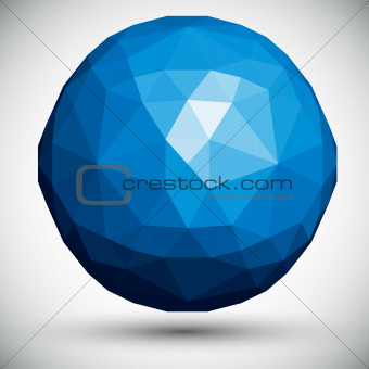 Abstract faceted sphere, 3d vector design.