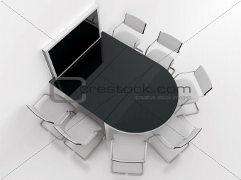 rounded table, chairs and screen for presentations in modern meeting room