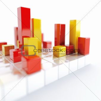 Abstract white yellow and red metallic cubes on a white background