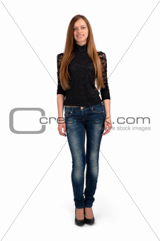 pretty young woman standing