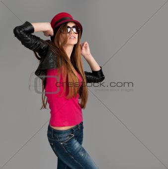 Pretty fashion girl dancing