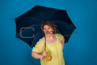 Cute fat woman holding umbrella