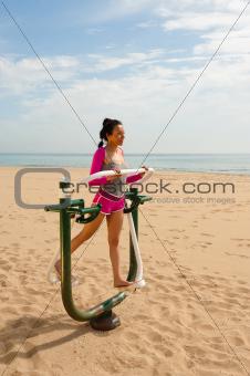 Fitness machine on beach