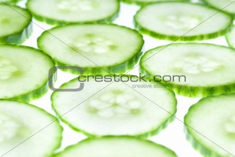 Green vegetable on slices