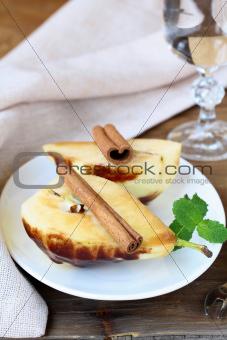 fruit dessert, a pear in caramel sauce
