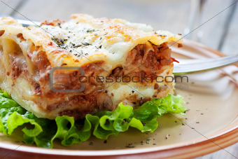 Fresh homemade lasagna