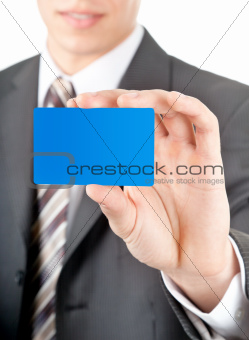 showing of a plastic card closeup