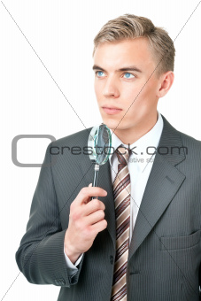Expert ( inspector ) with a magnifying glass