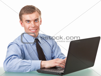 Laptop user at work