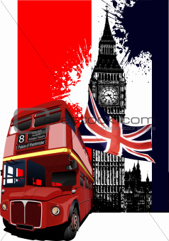 Grunge banner with London and bus images. Vector illustration