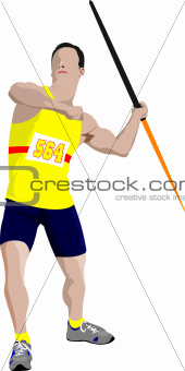 Track and field. Male Javelin thrower on white background. Vecto
