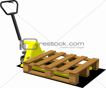 Hand yellow pallet truck. Forklift. Vector illustration