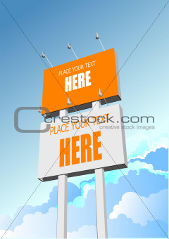 Big billboard publicity over blue sky. Vector illustration