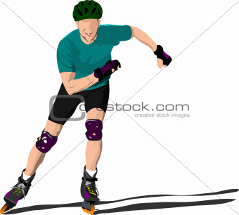 Roller skater illustration silhouette on a white background